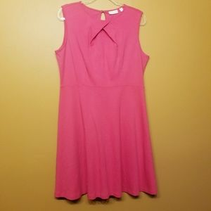 NY & Company |Hot Pink Fit & Flare Dress (Size XL)